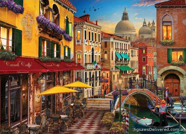 Venice Canal Cafe (HOL770441), a 1000 piece jigsaw puzzle by Holdson.