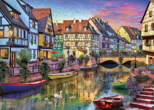 Galerie Colmar Canal (HOL770427), a 1000 piece jigsaw puzzle by Holdson. Click to view larger image.