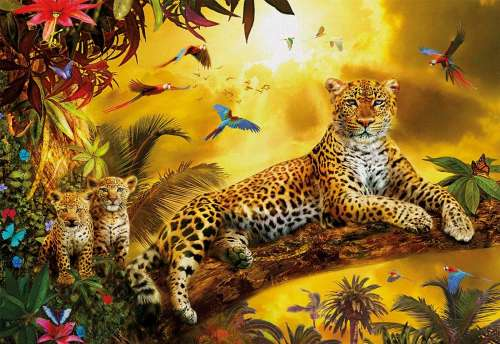 Leopard and Cubs (EDU17736), a 500 piece jigsaw puzzle by Educa. Click to view larger image.