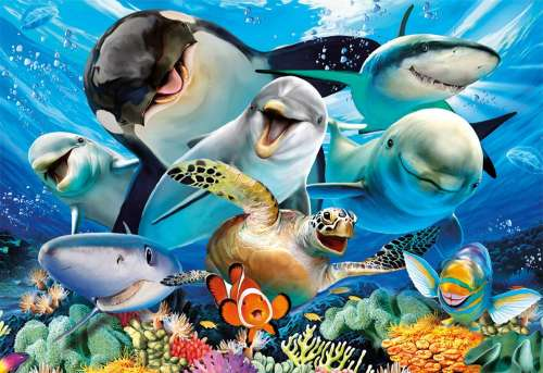Underwater Selfie (EDU17647), a 500 piece jigsaw puzzle by Educa. Click to view larger image.