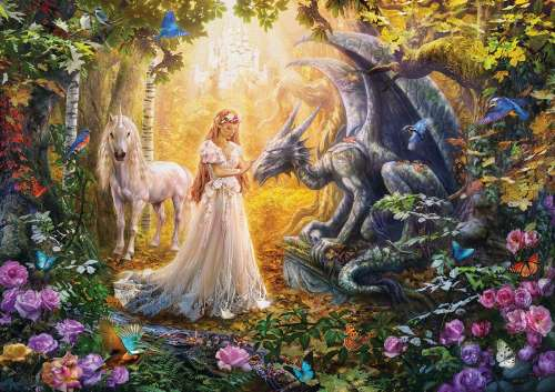 Dragon, Princess and Unicorn (EDU17696), a 1500 piece jigsaw puzzle by Educa. Click to view larger image.