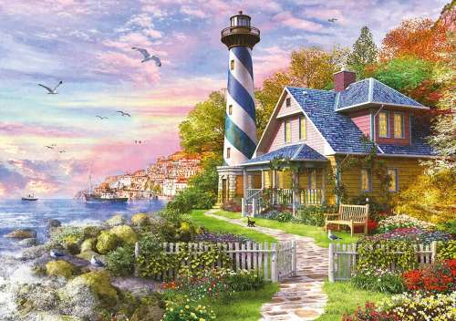 Lighthouse at Rock Bay (4000pc) (EDU17677), a 4000 piece jigsaw puzzle by Educa. Click to view larger image.