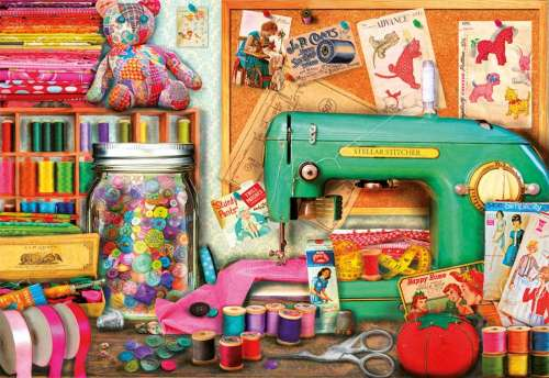 Sewing Corner (EDU17660), a 1000 piece jigsaw puzzle by Educa. Click to view larger image.