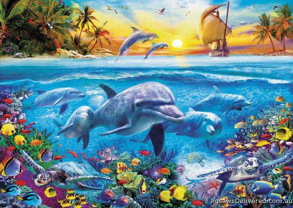 Family of Dolphins (EDU17672), a 2000 piece jigsaw puzzle by Educa.