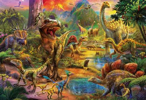 Land of the Dinosaurs (EDU17655), a 1000 piece jigsaw puzzle by Educa. Click to view larger image.