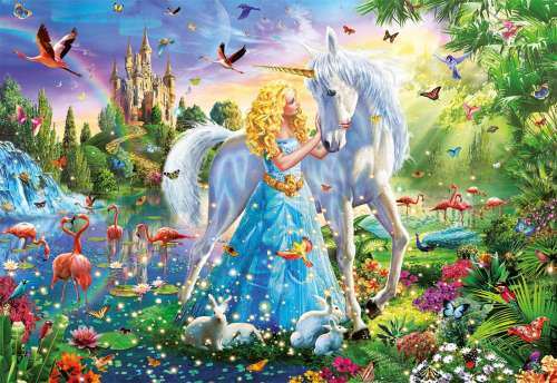 Princess and the Unicorn (EDU17654), a 1000 piece jigsaw puzzle by Educa. Click to view larger image.
