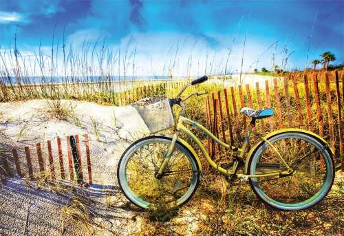 Bike in the Dunes (EDU17657), a 1000 piece jigsaw puzzle by Educa. Click to view larger image.