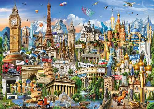 European Landmarks (EDU17697), a 2000 piece jigsaw puzzle by Educa. Click to view larger image.