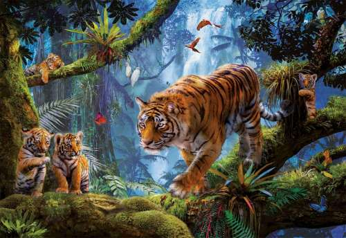 Tigers in the Tree (EDU17662), a 1000 piece jigsaw puzzle by Educa. Click to view larger image.