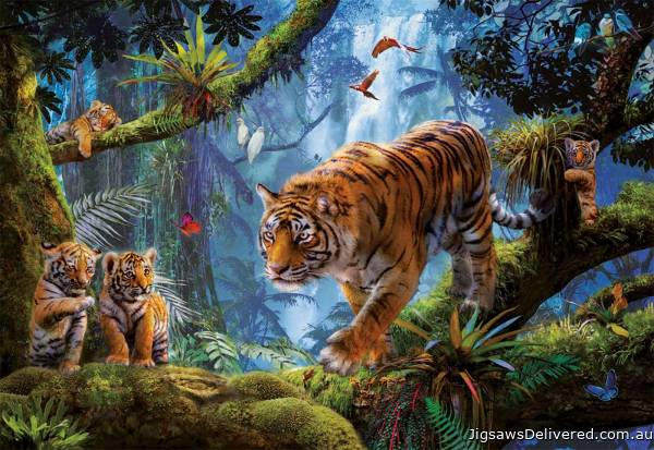 Tigers in the Tree (EDU17662), a 1000 piece jigsaw puzzle by Educa.