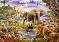 Watering Hole Under The Rainbow (EDU17698), a 3000 piece Educa jigsaw puzzle.