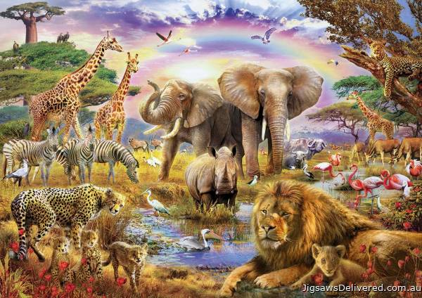 Watering Hole Under The Rainbow (EDU17698), a 3000 piece jigsaw puzzle by Educa.