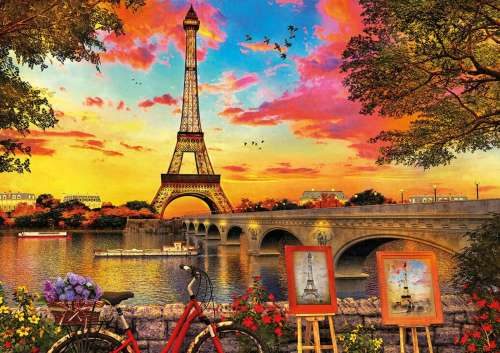 Sunset in Paris (EDU17675), a 3000 piece jigsaw puzzle by Educa. Click to view larger image.
