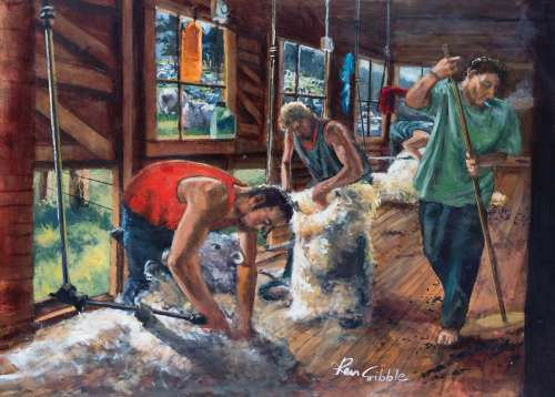 Sheep Shearing Gang (HOL770335), a 1000 piece jigsaw puzzle by Holdson. Click to view larger image.