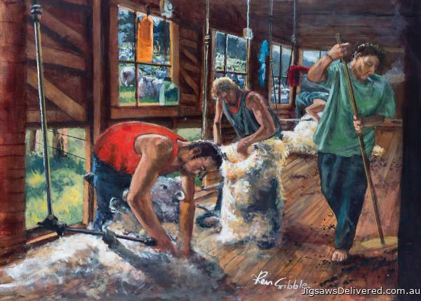 Sheep Shearing Gang (HOL770335), a 1000 piece jigsaw puzzle by Holdson.