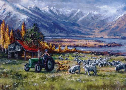 Sheep in the Field, New Zealand (HOL770328), a 1000 piece jigsaw puzzle by Holdson. Click to view larger image.