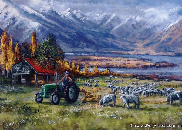 Sheep in the Field, New Zealand (HOL770328), a 1000 piece jigsaw puzzle by Holdson.