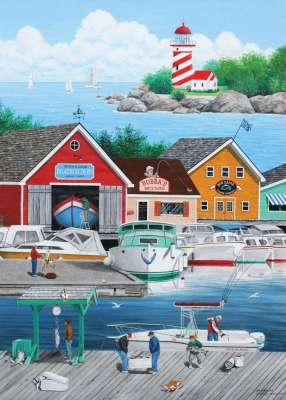 Cat Burglar (Dock of the Bay) (HOL7770595), a 1000 piece jigsaw puzzle by Holdson. Click to view larger image.
