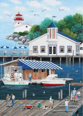Gull's Landing (Dock of the Bay) (HOL770601), a 1000 piece jigsaw puzzle by Holdson. Click to view larger image.