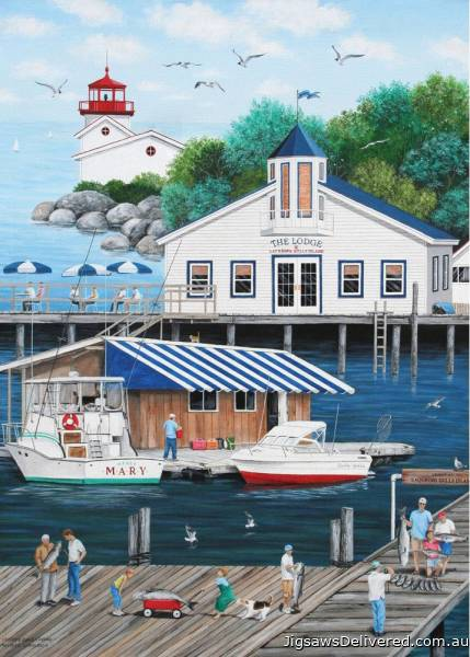 Gull's Landing (Dock of the Bay) (HOL770601), a 1000 piece jigsaw puzzle by Holdson.