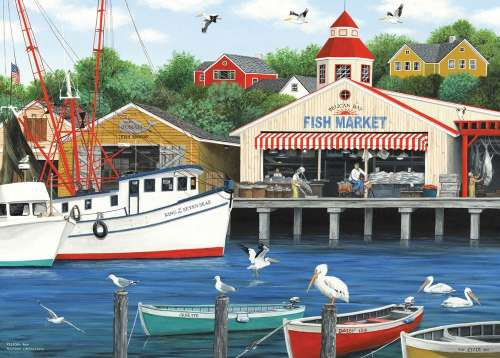 Pelican Bay (Dock of the Bay) (HOL770618), a 1000 piece jigsaw puzzle by Holdson. Click to view larger image.