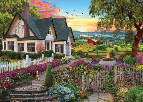 Hilltop View (Home Sweet Home) (HOL770717), a 1000 piece jigsaw puzzle by Holdson. Click to view larger image.