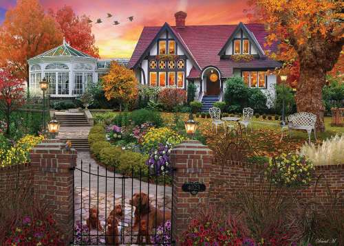 Conservatory House (Home Sweet Home) (HOL770700), a 1000 piece jigsaw puzzle by Holdson. Click to view larger image.