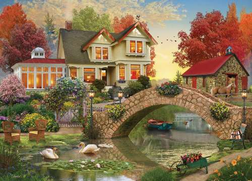 Sunrise (Home Sweet Home) (HOL770724), a 1000 piece jigsaw puzzle by Holdson. Click to view larger image.