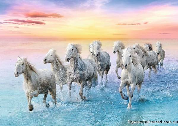 Galloping White Horses (TRE37289), a 500 piece jigsaw puzzle by Trefl.