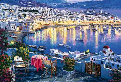 Mykonos at Sunset, Greece (TRE26144), a 1500 piece jigsaw puzzle by Trefl. Click to view larger image.