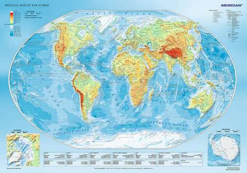 Physical Map of the World (TRE10463), a 1000 piece jigsaw puzzle by Trefl. Click to view larger image.