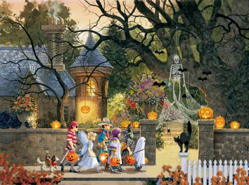 Friends on Halloween (SUN51224), a 1000 piece jigsaw puzzle by Sunsout. Click to view larger image.