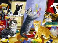 Studio Kittens (SUN52657), a 1000 piece Sunsout jigsaw puzzle.