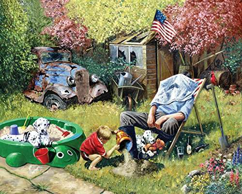 A Day With Grandpa (CAA400084), a 1000 piece jigsaw puzzle by Crown and Andrews. Click to view larger image.