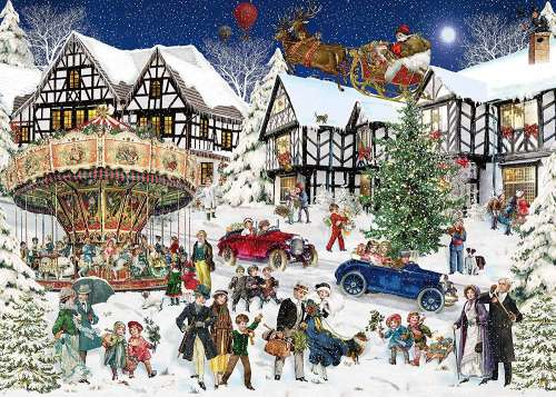 Snowy Village (RB15359-6), a 1000 piece jigsaw puzzle by Ravensburger. Click to view larger image.