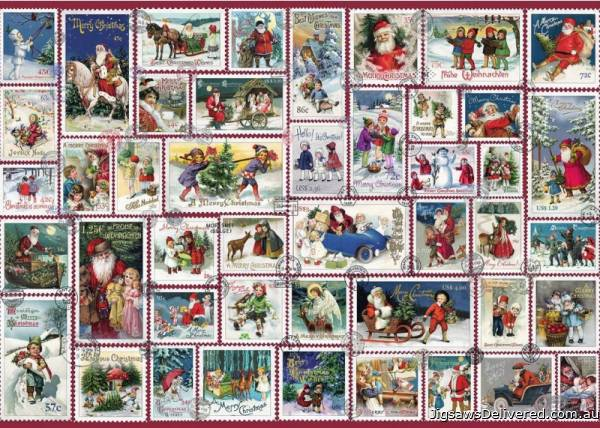 Christmas Wishes Stamps (RB19881-8), a 1000 piece jigsaw puzzle by Ravensburger.