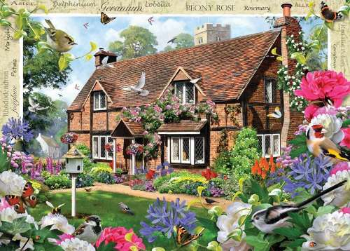 Peony Cottage (Large Pieces) (HOL770885), a 500 piece jigsaw puzzle by Holdson. Click to view larger image.