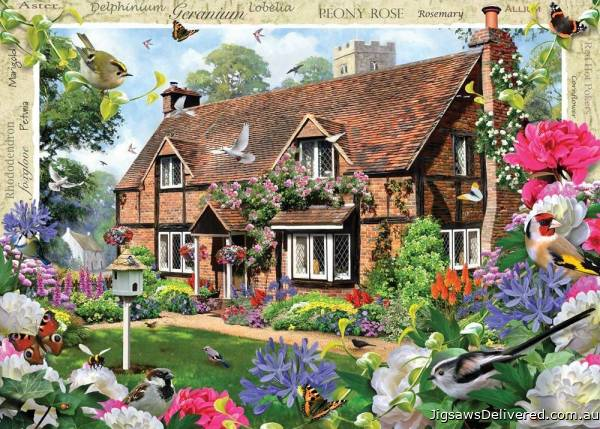 Peony Cottage (Large Pieces) (HOL770885), a 500 piece jigsaw puzzle by Holdson.