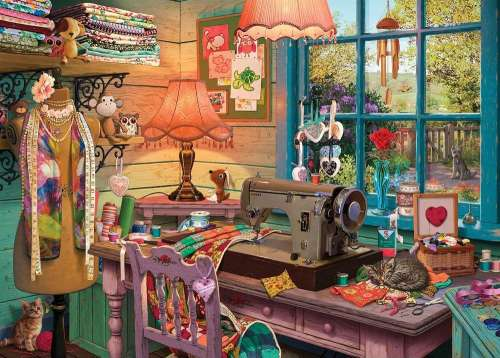 The Sewing Shed (Large Pieces) (HOL770861), a 500 piece jigsaw puzzle by Holdson. Click to view larger image.