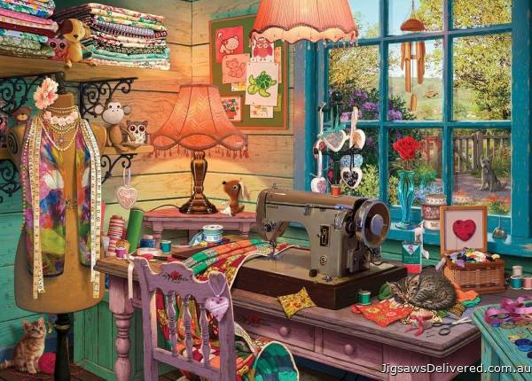 The Sewing Shed (Large Pieces) (HOL770861), a 500 piece jigsaw puzzle by Holdson.