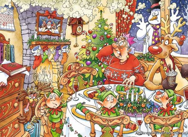 Turkey's Delight (Christmas Wasgij 13) (HOL770250), a 1000 piece jigsaw puzzle by Holdson.