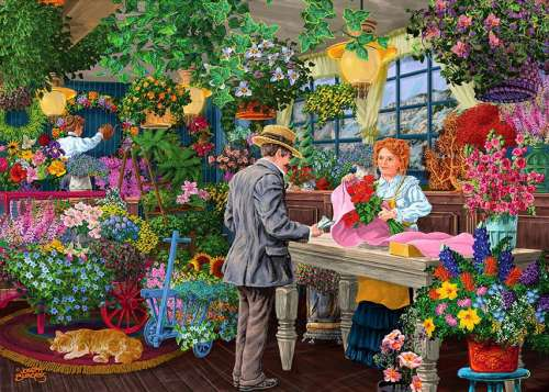 Blooms and Bouquets (Shopkeepers) (HOL770540), a 1000 piece jigsaw puzzle by Holdson. Click to view larger image.