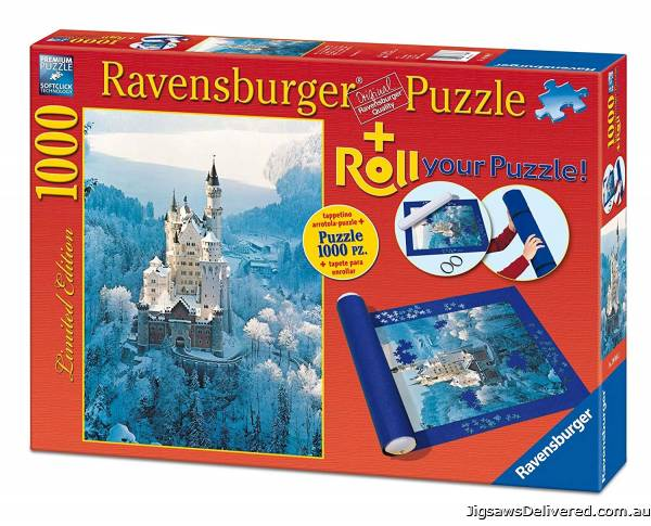 Neuschwanstein Castle Winter (With Storage Roll) (RB19908-2), a 1000 piece jigsaw puzzle by Ravensburger.