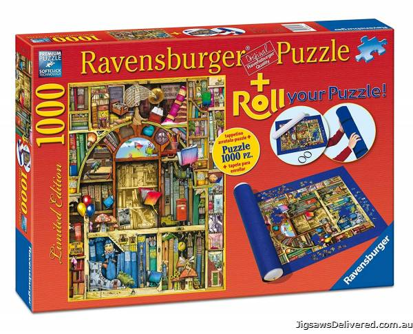The Bizarre Bookshop (With Storage Roll) (RB19909-9), a 1000 piece jigsaw puzzle by Ravensburger.