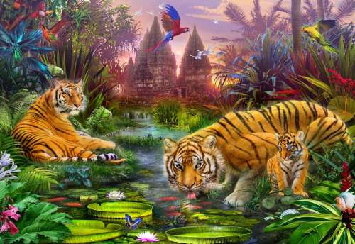 Tigers at the Ancient Stream (Gallery) (HOL771042), a 300 piece jigsaw puzzle by Holdson. Click to view larger image.