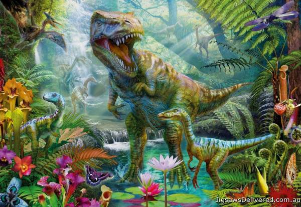 Dino Jungle (Gallery) (HOL771011), a 300 piece jigsaw puzzle by Holdson.