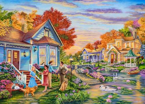 Welcome Neighbours (Moments and Memories) (HOL771103), a 1000 piece jigsaw puzzle by Holdson. Click to view larger image.