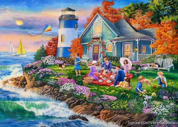 Lighthouse Picnic (Moments and Memories) (HOL771080), a 1000 piece jigsaw puzzle by Holdson.
