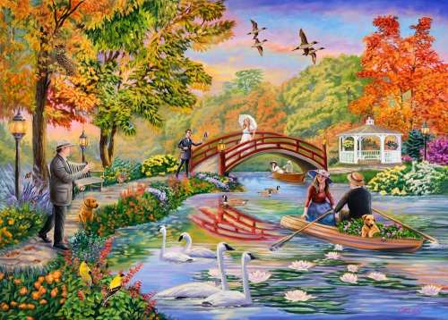 Autumn on the Pond (Moments and Memories) (HOL771073), a 1000 piece jigsaw puzzle by Holdson. Click to view larger image.