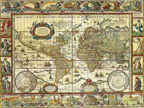 Map of the World from 1650 (RB16633-6), a 2000 piece jigsaw puzzle by Ravensburger. Click to view larger image.